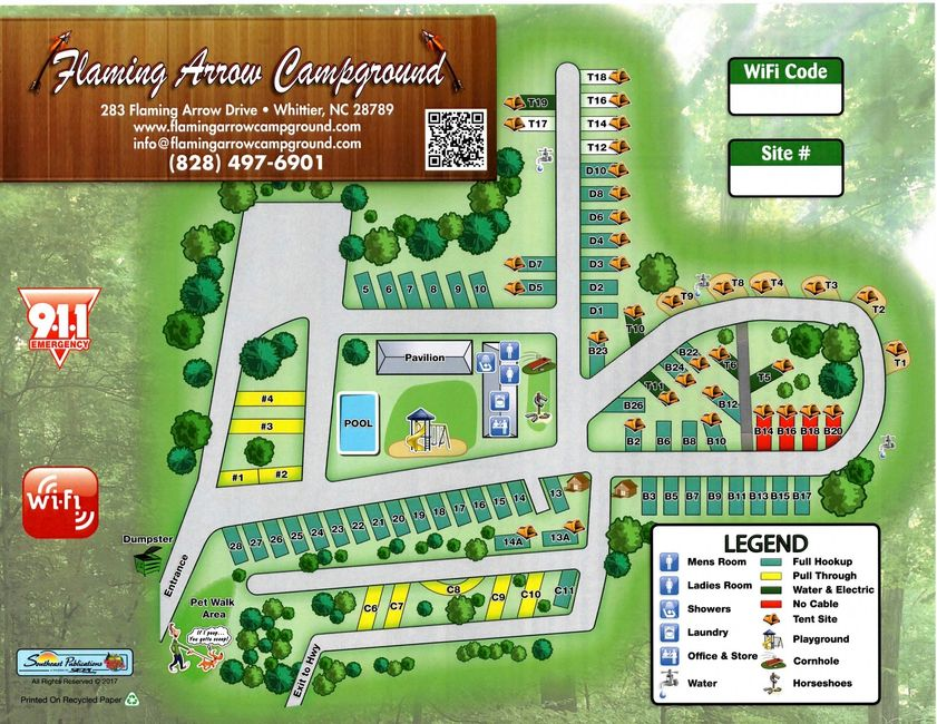 Flaming Arrow Campground  map of campsites Smoky Mountains Cherokee camping site map