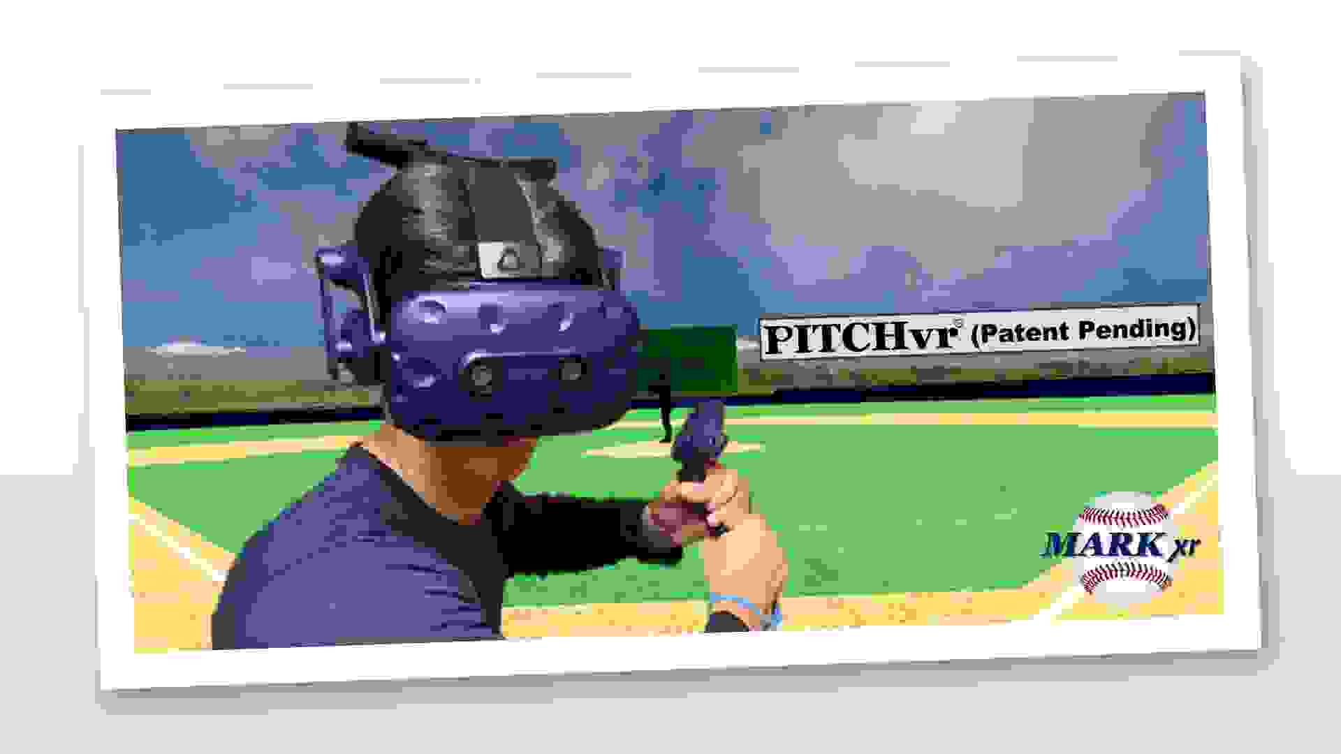 The HTC Vive Pro Eye system is used to measure the user's ability to track a pitch.