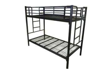 Metal bunk bed. metal mesh base. tapers. commercial. single size. king single size. certified.TubeCo