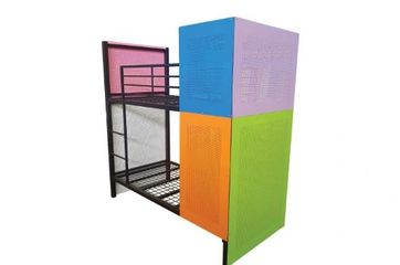 Metal bunk. privacy bunk. single size, king single size. commercial bunk. hostel. backpackers.TubeCo