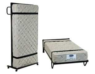 Vertical trundle. commercial trundle. metal trundle. metal bed.
