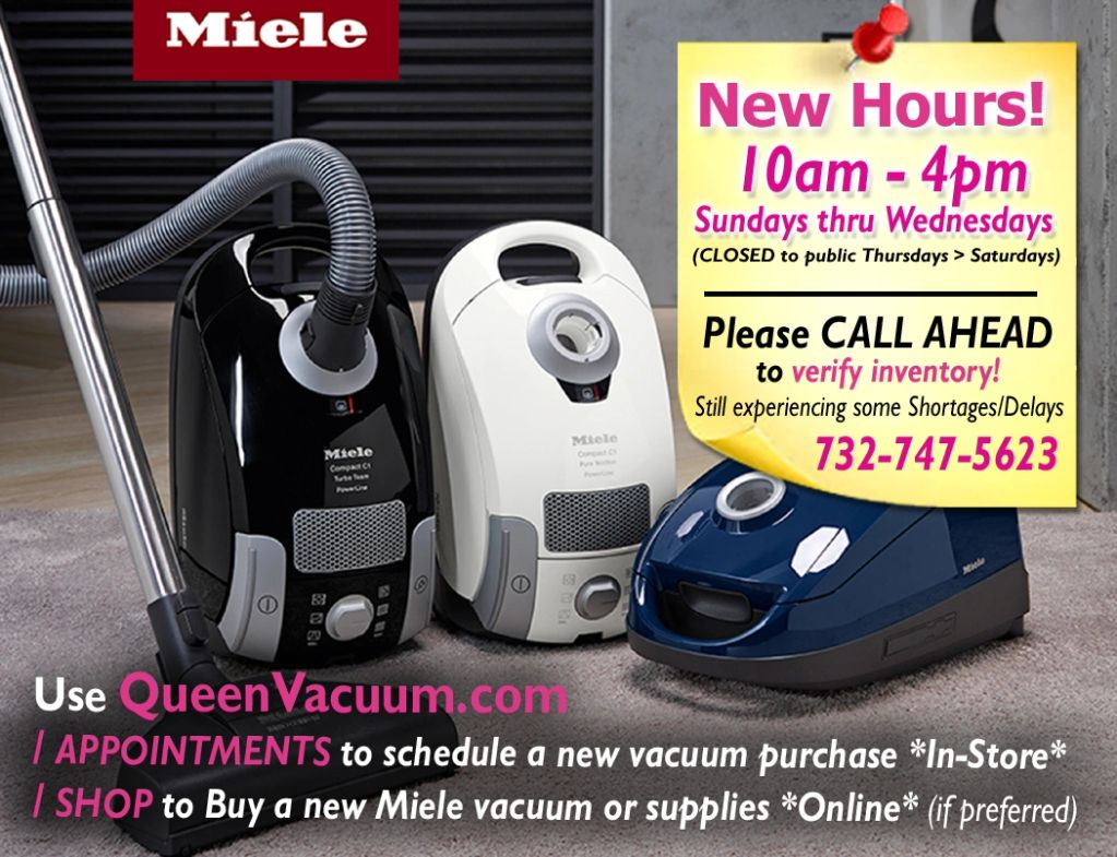 Queen Vacuum Shrewsbury, NJ New Hours Call ahead to check inventory Schedule Appointment Shop Online