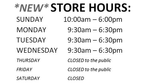 New Storefront operating hours at Queen Vacuum