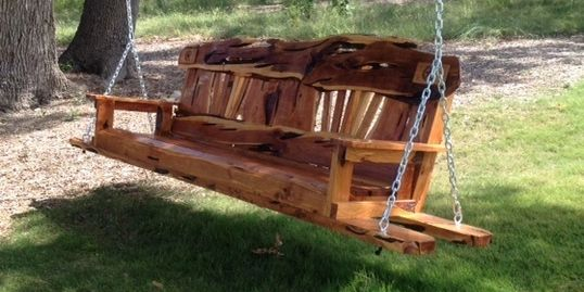 Custom 8 Foot Porch Swing with The Yellow Rose of Texas Style back
