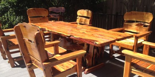 Outdoor furniture cedar table and chairs