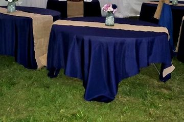 Simply yours outside wedding Navy linens