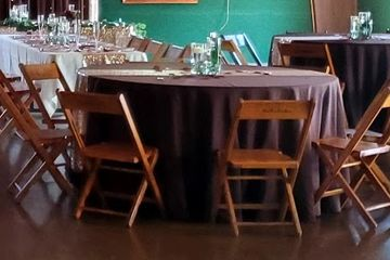 Brown linens rustic wedding by Simply Yours at Bronson, Norwalk OH
