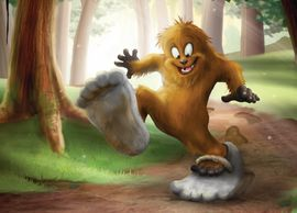 Little Bigfoot makes his own path with some big shoes to fill.  Cute take on a big monster.