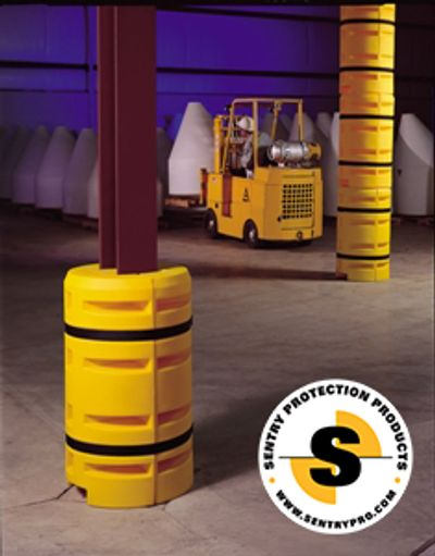 Column Sentry column protector surrounds columns with a cushion of air