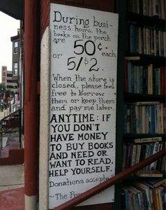 Image of the sign in front of the Paradox Book Store in Wheeling, which went viral.