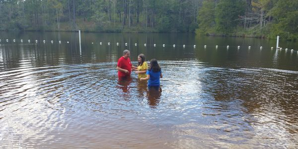 Baptizing at Falling Waters. Baptized 3 this year and part 3 others being baptized at the Caverns