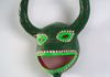 """untitled"" small 3 horn green ornamental mask"