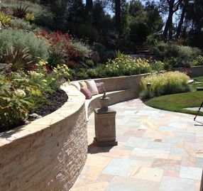 Curved Ledge Stone Retaining Wall
