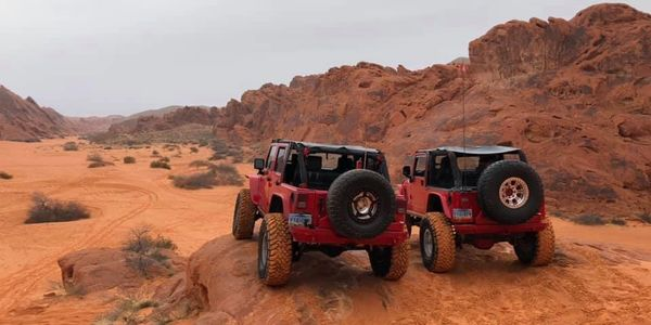 Two Jeeps on a overlook at Valley of Fire.