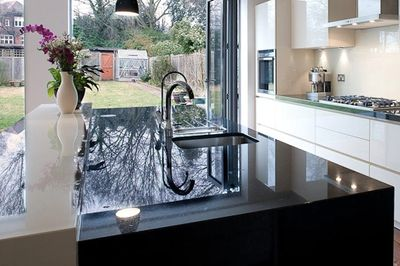 A decadent black marble countertop