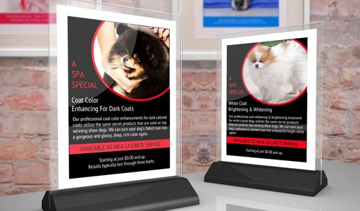 Coat whitening and coat color enhancing add-on grooming services promotional signs