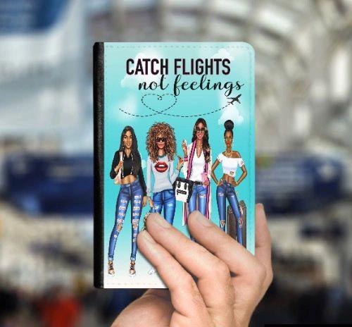 Metallic Faux Leather Passport Cover Catch Flights Not Feelings