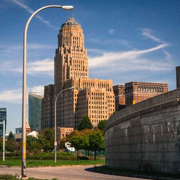 Buffalo City Hall with onramp in foreground. Photo by Dennis Reed Jr.