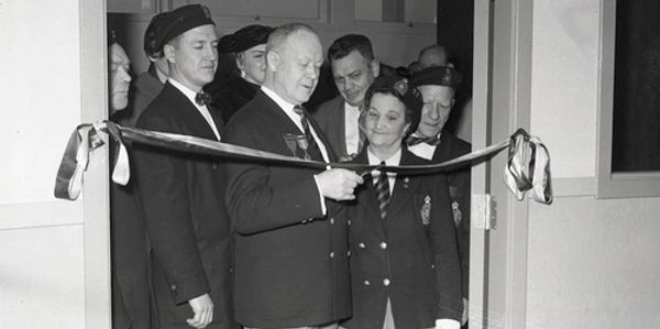 Ribbon cutting at opening of Whalley Legion building in 1960
