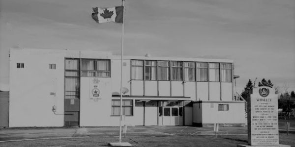 Black and white photo of the Whalley Legion as it appeared in 2018,