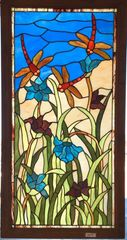 "Stained Glass Hanging Framed, Dragon Flies, 42 1/4"" x 22 1/8"""