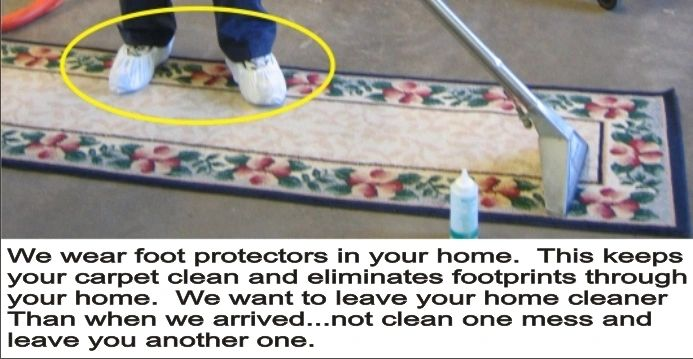 Carpet cleaner wearing foot protectors image