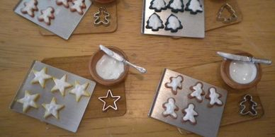 Making Christmas Cookies in Miniature.  3 designs to choose from: gingerbread, tree and stars.