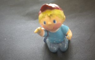 Vintage dollhouse miniature doll. Kneeling little boy in baseball cap. Girl (not pictured) available