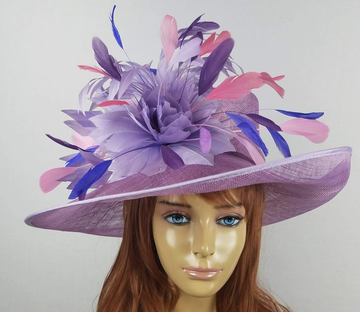 kentucky derby hat pink purple violet feather flower rose sinamay