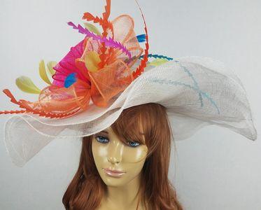 kentucky derby hat sinamay white neon orange pink feather green blue lime wide brim