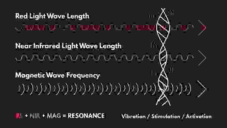Illustration showing how red light, near infrared, and magnetic waves all work together in the band