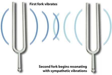 Two tuning forks illustrate the concepts of resonance and sympathetic vibration used by Live Therapeutic Music