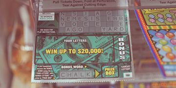 A scratch-off lottery ticket at Chips & Coins.