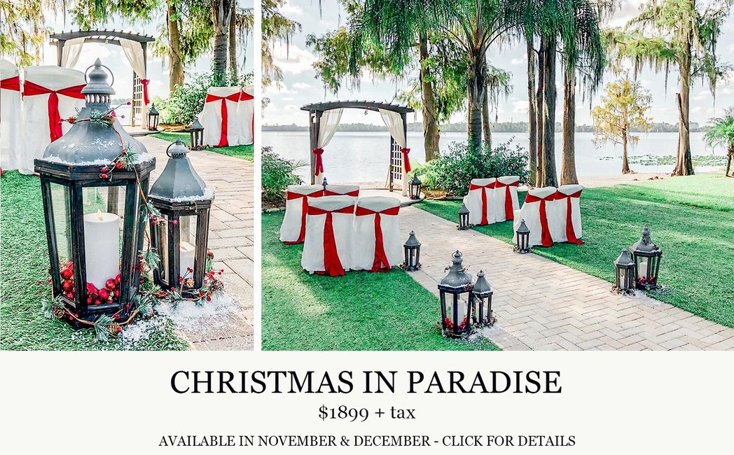 Paradise Cove Orlando Christmas in Paradise wedding with Central Florida Wedding Group