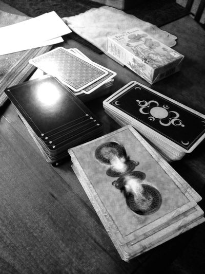 A selection of tarot decks used for professional tarot readings with clients.