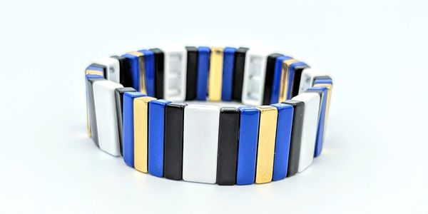 enamel tile stretch cord bracelet