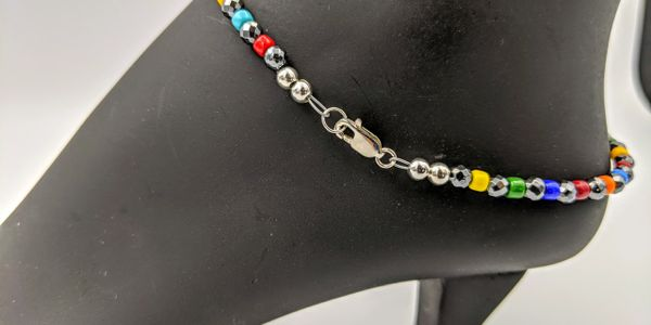 anklet gemstone seed bead lobster clasp sterling silver