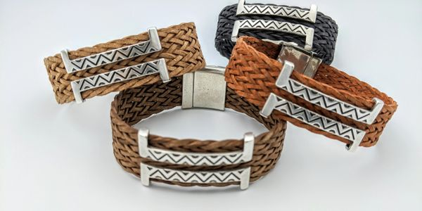 leather cuffs southwest woven leather unisex magnetic handmade