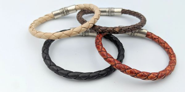 braided leather colorful leather magnetic clasp unisex handmade