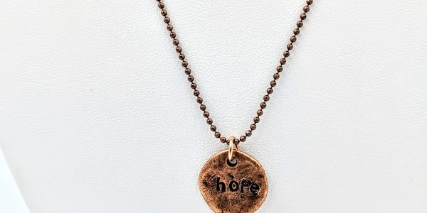 hand stamped necklace copper blank copper ball chain inspirational words hope