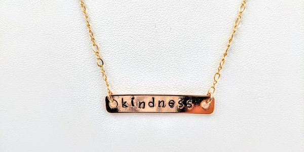 hand stamped necklace rose gold inspirational words kindness