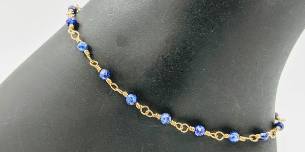 anklets lapis gemstone 14k gold filled wire wire wrapped 14k gold filled lobster clasp handmade