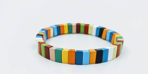 Enamel tile stretch bracelet