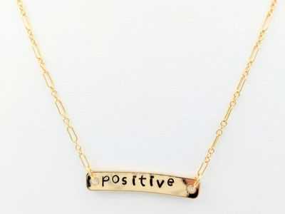 hand stamped necklace 24K gold filled chain inspirational word handmade positive