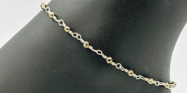 anklets pyrite gemstone sterling silver wire wire wrapped sterling silver  lobster clasp handmade