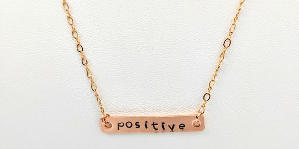 hand stamped  necklace positive word rose gold chain handmade inspirational word
