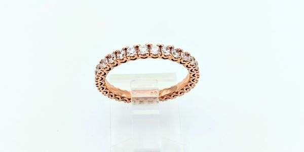 rose gold cubic zirconia wedding band stackable ring
