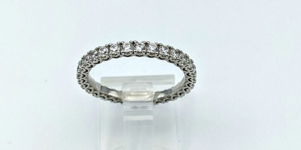sterling silver cubic zirconia wedding band stackable ring