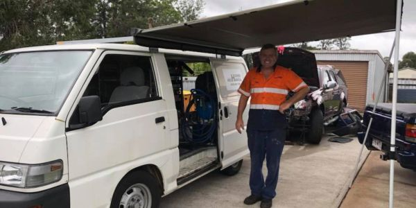 This is Greg with our original van which we used as a mobile mechanic.