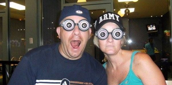 Photographer Greg Mitchum and wife being crazy as always with big google eyes.